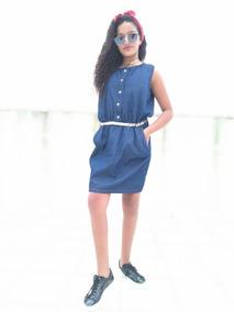 a69cb16968 Vestidos Jeans Ciganinha Com Infantil - Vestidos Azul-celeste no Mercado  Livre Brasil