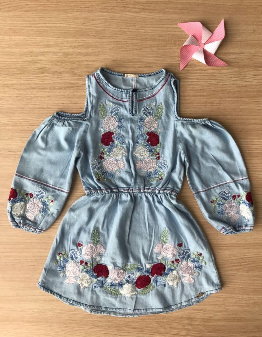 dabb366512 vestido jeans infantil petit cherie. Carregando zoom.
