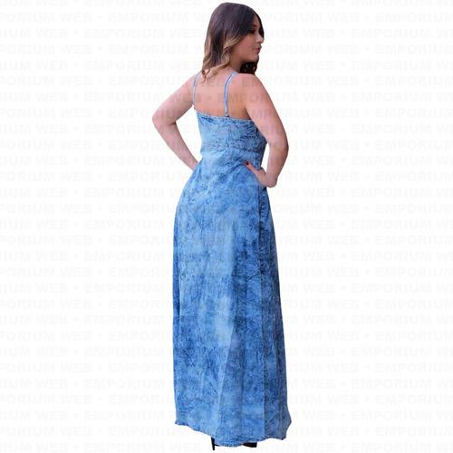 vestido jeans longo alça botões tendência mulher poderosa