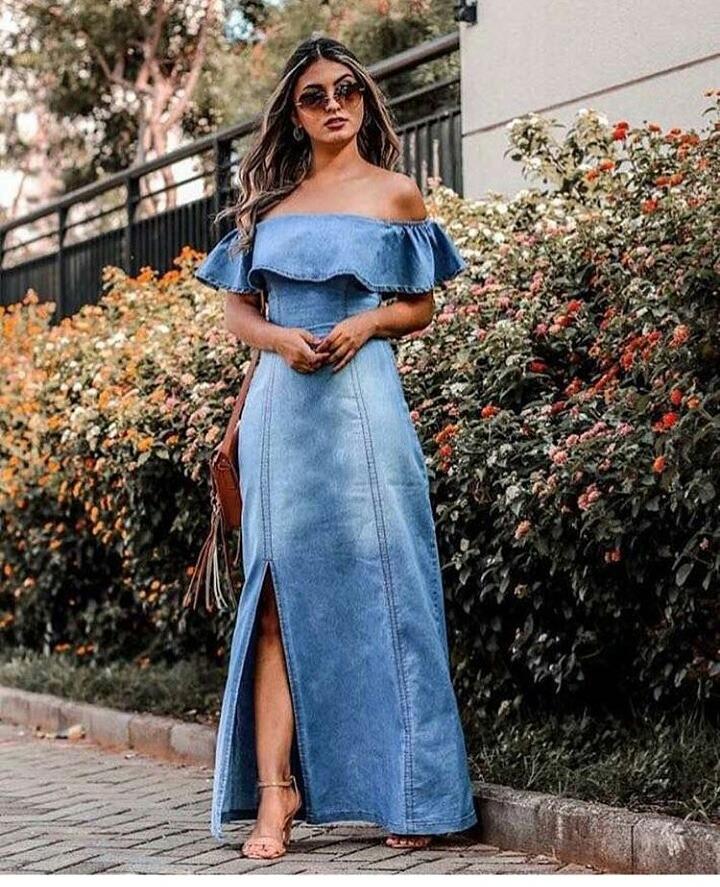 Vestido Jeans Longo Ciganinha Fashion Frete Gratis