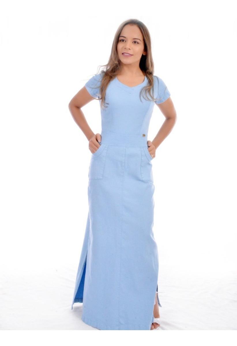 5dc911b7f41a vestido jeans longo feminino plus size moda evangélica luxo. Carregando zoom .