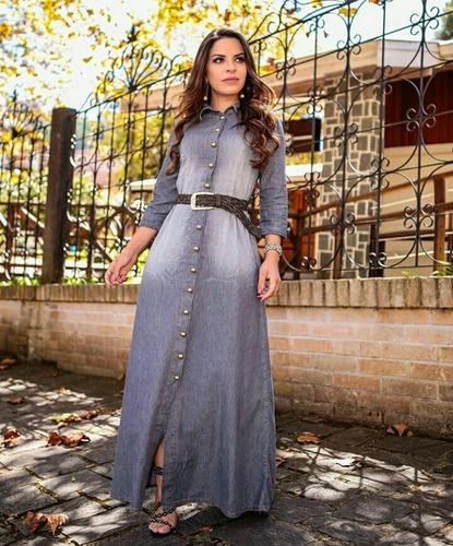 vestido jeans longo joyaly -  acompanha cinto