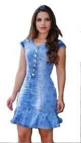 6145c12dd Vestido Jean Manchado - Vestidos Casuais Femininas no Mercado Livre ...