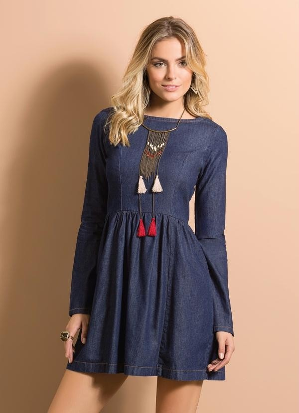 19439846e vestido jeans manga longa inverno saia blusa azul promoção!! Carregando zoom .