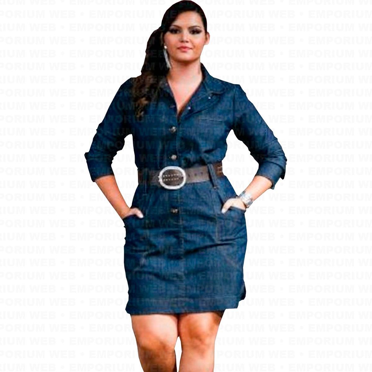53af7734a275 vestido jeans manga longa plus size g1 g2 g3 moda sucesso. Carregando zoom.