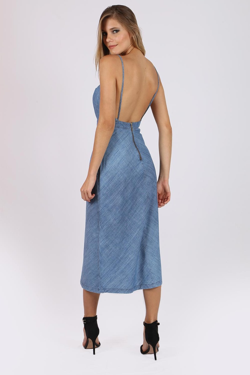 8fa3122ca Vestido Jeans Midi Alça Indigo Colcci - R$ 299,00 em Mercado Livre