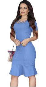 db9a1bc19 Clarifay Jeans Feminino - Vestidos com o Melhores Preços no Mercado Livre  Brasil