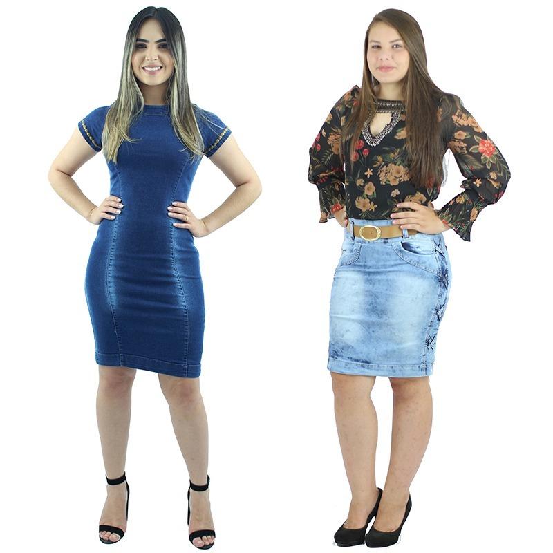 c0bd377c7 vestido jeans moda evangélica + saia jeans com elastano. Carregando zoom.