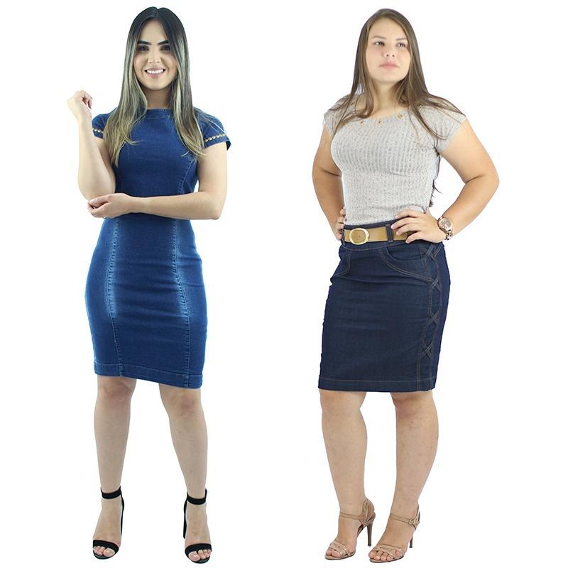 d8ccc86e7 Vestido Jeans Moda Evangélica + Saia Jeans Secretária - R  144