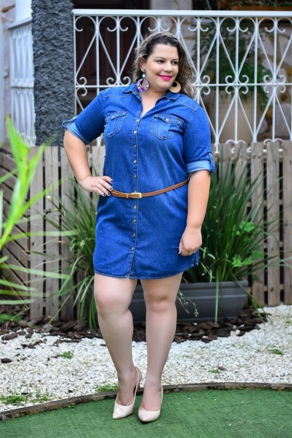 2ef55a8265c6d4 Vestido Jeans Plus Size Manga ¾ Tamanhos Especiais Cambos - R$ 134 ...