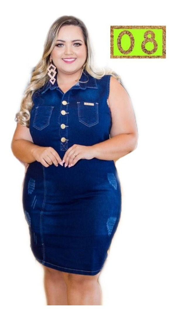 9b8e3836d vestido jeans plus size tamanho grande fique na moda- mdl. 8. Carregando  zoom.