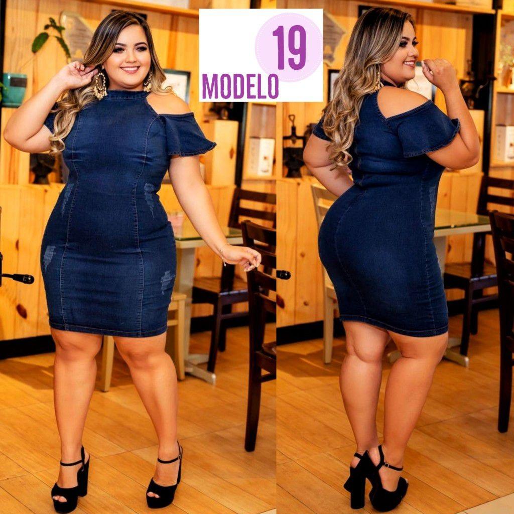 8b837efff vestido jeans plus size tamanho grande lycra look day ref 19. Carregando  zoom.