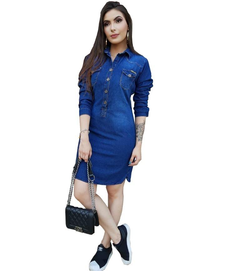 bc692358c vestido jeans promoção chemise médio manga comprida ref 0036. Carregando  zoom.