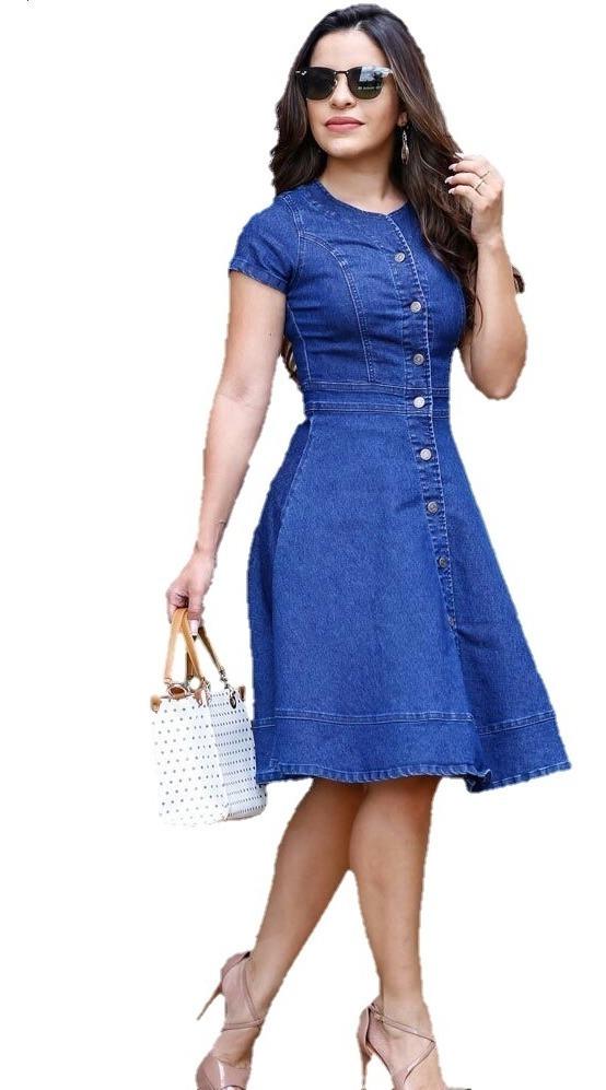 1a25c62d9 Vestido Jeans Rodado - Moda Evangélica - Lançamento 2019 - R$ 89,99 ...
