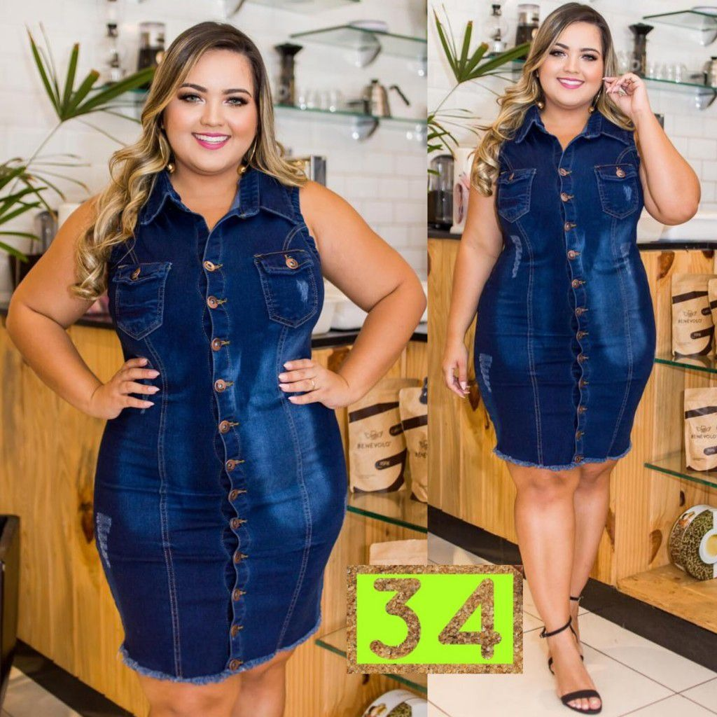 ac6cf33541bc vestido jeans roupas da moda plus size gordinha love mod. 34. Carregando  zoom.