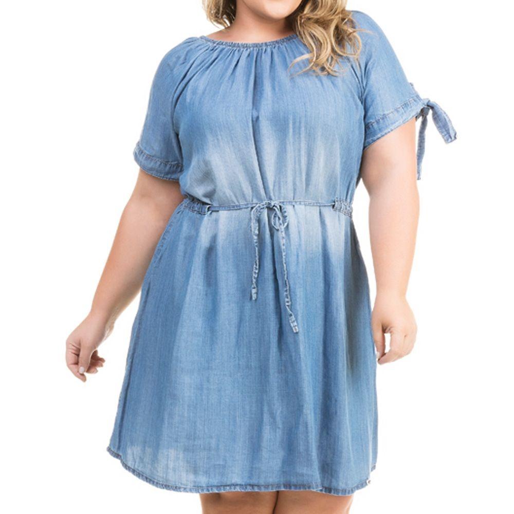 8945f889b Vestido Jeans Soltinho Ciganinha Plus Size Vsj041 - R$ 199,90 em ...