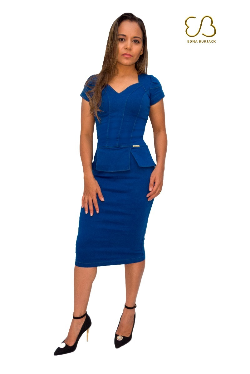632607a23 Vestido Jeans Tubinho Midi Peplum Moda Feminina Composta - R  120