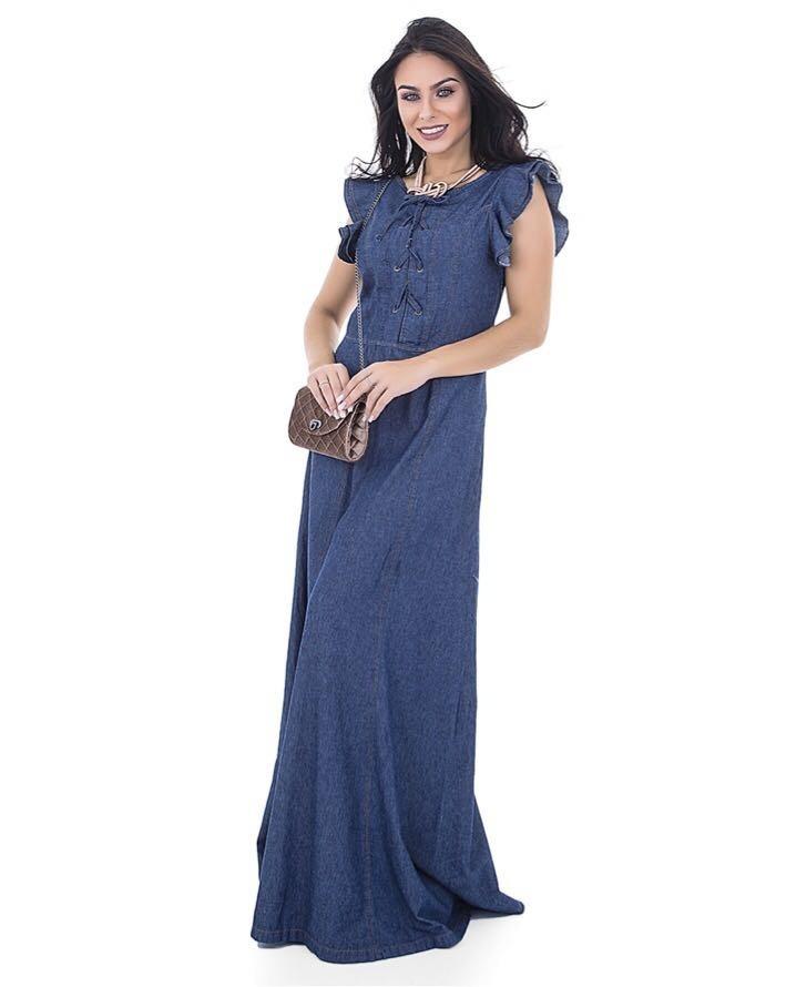 Vestido jeans longo azul