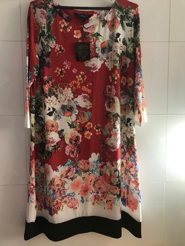 vestido jersey floral reto manga 3/4 com tags