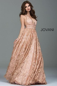 Vestido Jovani Rose And Gold Sexy Print Ballgown 51439