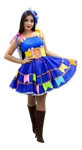 vestido junino adulto festa junina caipira tamanhos 36 ao 52