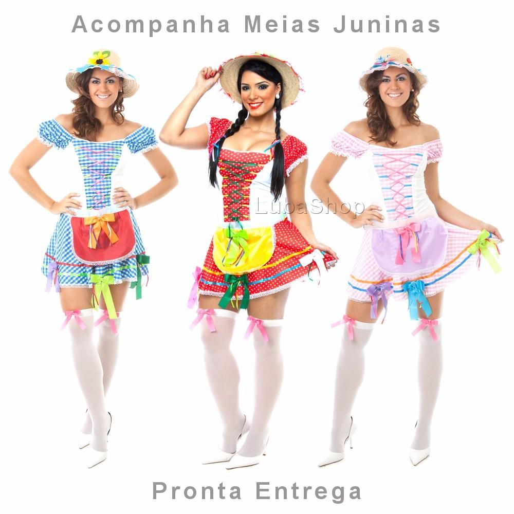 e08b6c607186a Vestido Junino Adulto Sensual Festa Caipira Com Meia Junina - R  109 ...