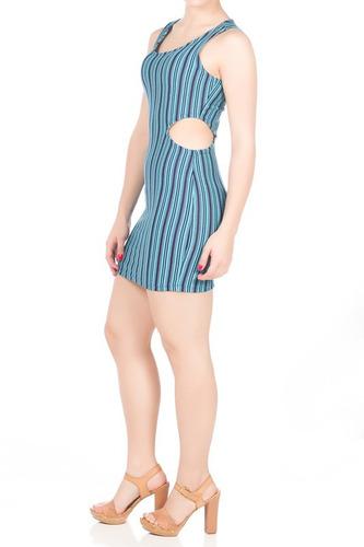vestido justo curto listrado azul/preto recorte na cintura