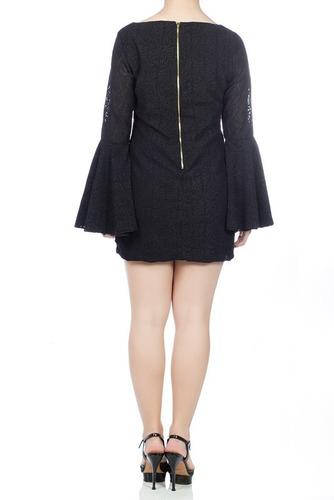 vestido justo curto preto, manga longa, bordado inverno 2016