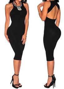 876a8a985f5e Vestido Midi Justo Decotado - Vestidos Femeninos com o Melhores Preços no  Mercado Livre Brasil