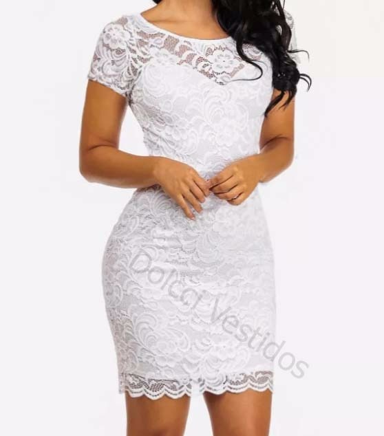 Vestido de renda branco justo