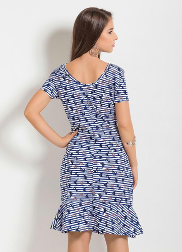 vestido juvenil moda evangélica simples midi com babado