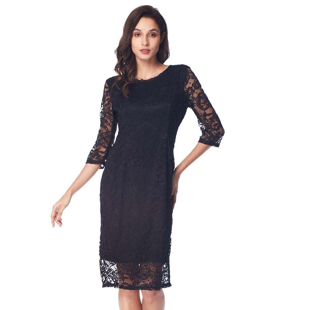 999415fb825 vestido kenancy cuello redondo y falda ancha para mujer. Cargando zoom.
