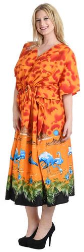 vestido kimono la leela likre naranja con nubes y flamencos