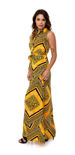 vestido kinara longo botões crepe com faixa amarelo