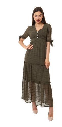 vestido kinara longo chiffon dot manga curta verde