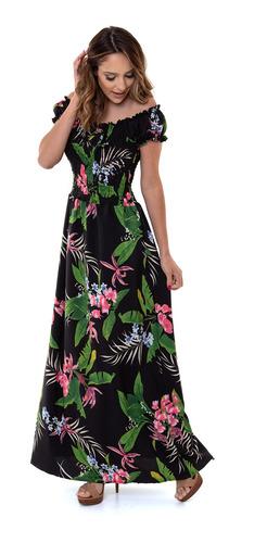 vestido kinara longo estampado lastex preto