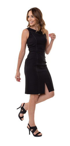 vestido kinara tubinho crepe poly costura preto