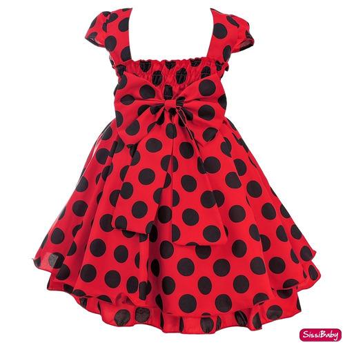 vestido ladybug joaninha festa infantil kit luxo promoção
