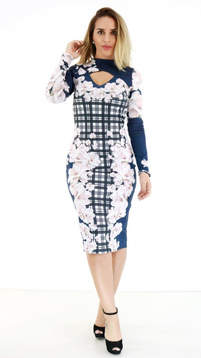 459181165 Vestido Lança Perfume Midi Azul Floral Oi18 - R$ 477,00 em Mercado Livre