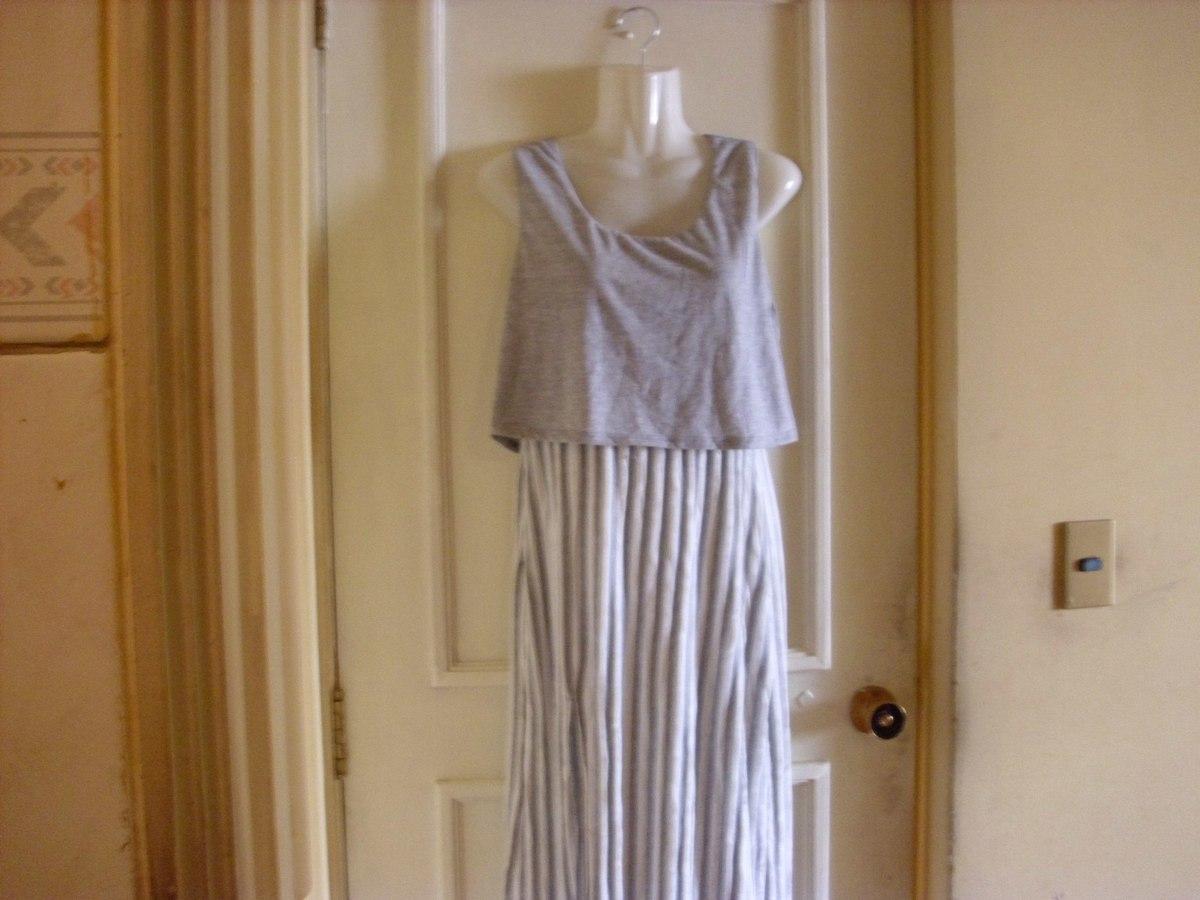 Vestido largo algodon gris
