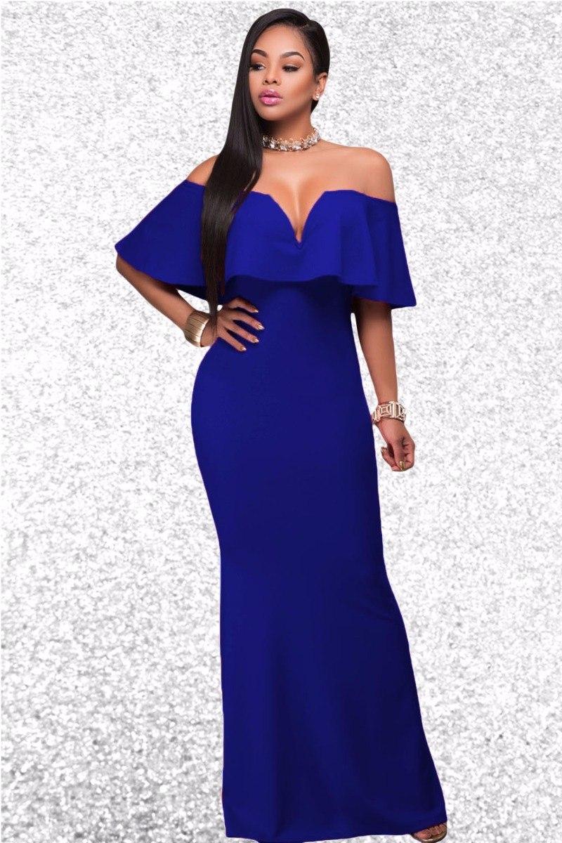 Vestido Largo Azul A Los Hombros - $ 650.00 en Mercado Libre