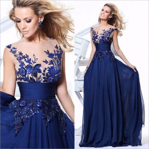 vestido largo azul chifon para graduacion fiesta boda