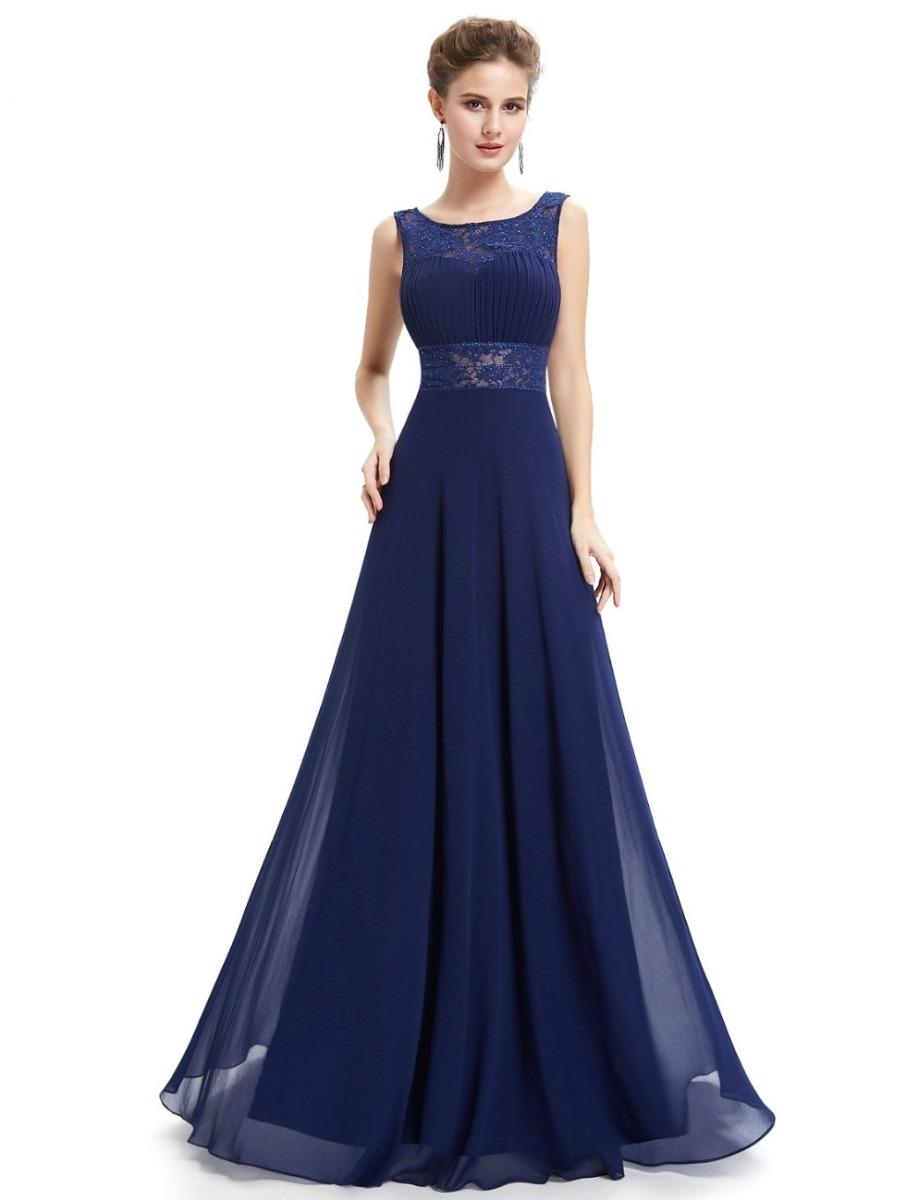 Vestido azul fiesta largo