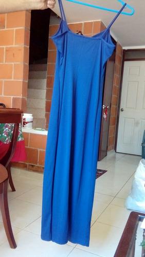 vestido largo. azul oscuro talla s con fondo en malla