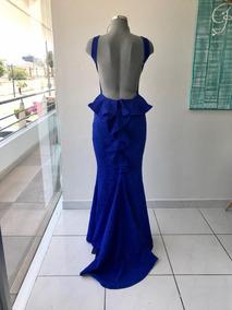Vestido Largo Azul Rey Sin Espalda Red Carpet Gdl