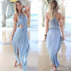 super popular c45eb 28dfe Vestido Largo Azul Sexy Verano Playa Casual Boho Long Cotton