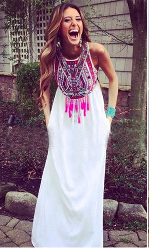 vestido largo blanco manga sisa floral tribal boho casual be