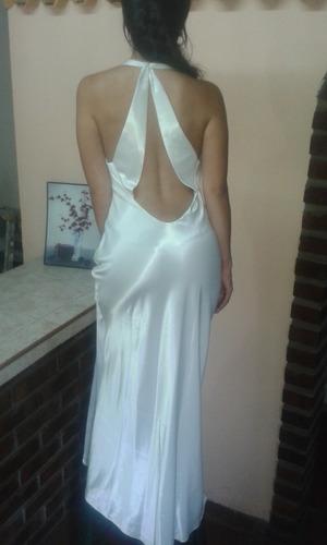 vestido largo blanco perla de seda satinada