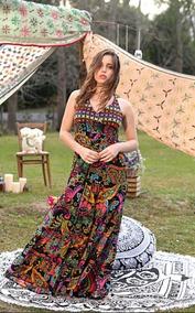024c2ddb1 Vestido Largo Bordado Importado De India Bohemio Hippie Chic