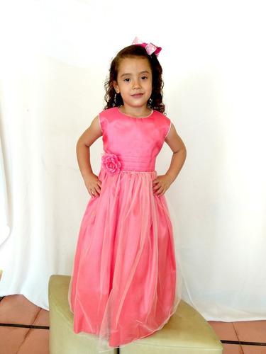 vestido largo color coral para niña muy elegante